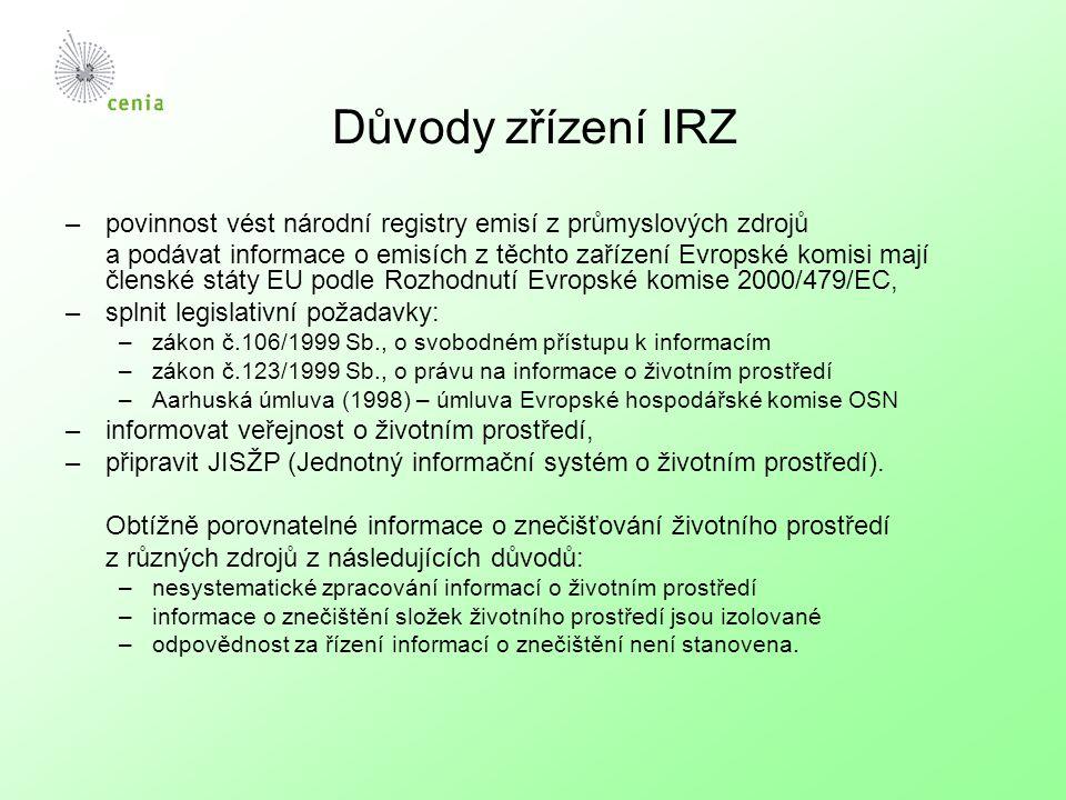 Důvody zřízení IRZ –povinnost vést národní registry emisí z průmyslových zdrojů a podávat informace o emisích z těchto zařízení Evropské komisi mají č