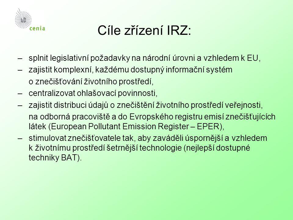 Cíle zřízení IRZ: –splnit legislativní požadavky na národní úrovni a vzhledem k EU, –zajistit komplexní, každému dostupný informační systém o znečišťování životního prostředí, –centralizovat ohlašovací povinnosti, –zajistit distribuci údajů o znečištění životního prostředí veřejnosti, na odborná pracoviště a do Evropského registru emisí znečišťujících látek (European Pollutant Emission Register – EPER), –stimulovat znečišťovatele tak, aby zaváděli úspornější a vzhledem k životnímu prostředí šetrnější technologie (nejlepší dostupné techniky BAT).