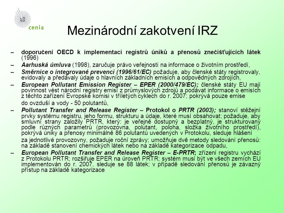 Mezinárodní zakotvení IRZ –doporučení OECD k implementaci registrů úniků a přenosů znečišťujících látek (1996) –Aarhuská úmluva (1998), zaručuje právo veřejnosti na informace o životním prostředí, –Směrnice o integrované prevenci (1996/61/EC) požaduje, aby členské státy registrovaly, evidovaly a předávaly údaje o hlavních základních emisích a odpovědných zdrojích, –European Pollutant Emission Register – EPER (2000/479/EC); členské státy EU mají povinnost vést národní registry emisí z průmyslových zdrojů a podávat informace o emisích z těchto zařízení Evropské komisi v tříletých cyklech do r.