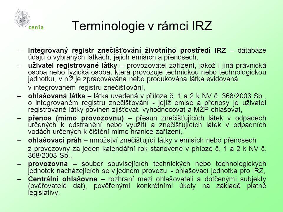 Terminologie v rámci IRZ –Integrovaný registr znečišťování životního prostředí IRZ – databáze údajů o vybraných látkách, jejich emisích a přenosech, –uživatel registrované látky – provozovatel zařízení, jakož i jiná právnická osoba nebo fyzická osoba, která provozuje technickou nebo technologickou jednotku, v níž je zpracovávána nebo produkována látka evidovaná v integrovaném registru znečišťování, –ohlašovaná látka – látka uvedená v příloze č.