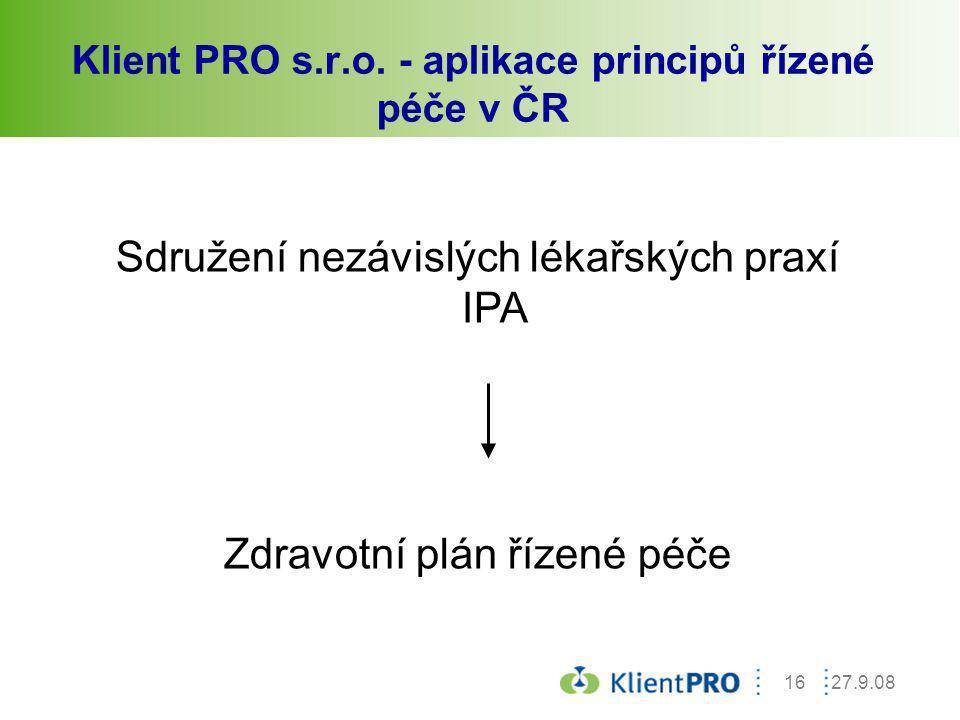 27.9.0816 Klient PRO s.r.o. - aplikace principů řízené péče v ČR Sdružení nezávislých lékařských praxí IPA Zdravotní plán řízené péče
