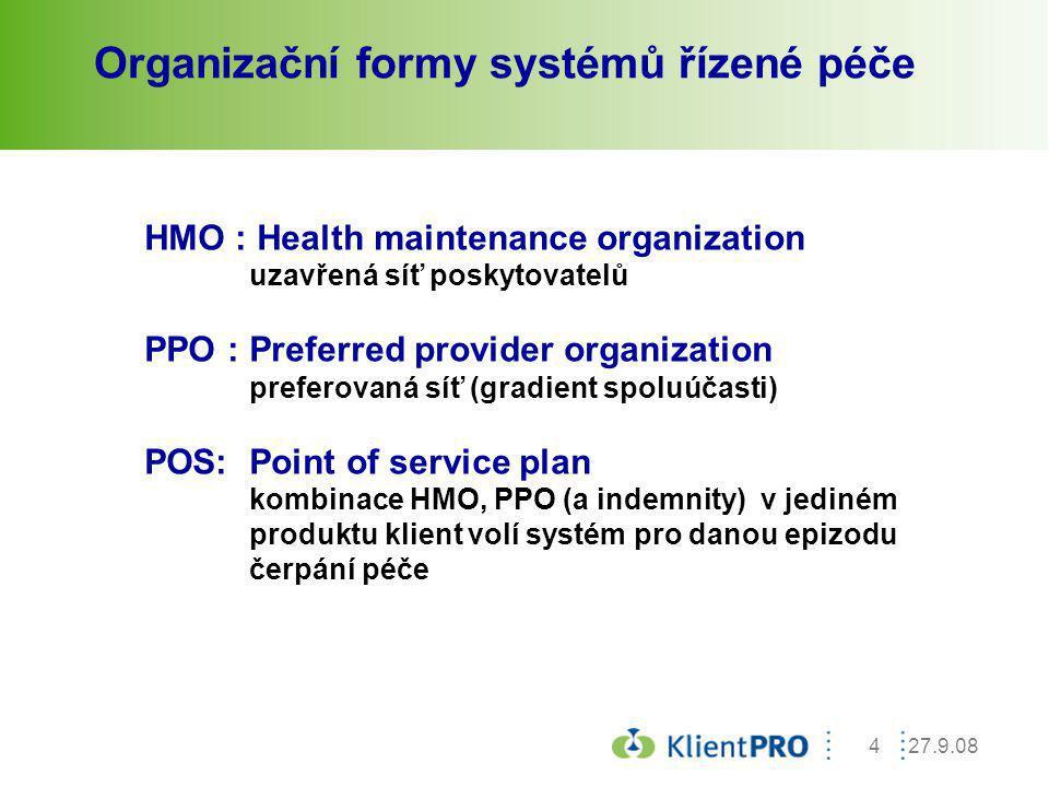 27.9.084 Organizační formy systémů řízené péče HMO : Health maintenance organization uzavřená síť poskytovatelů PPO :Preferred provider organization p