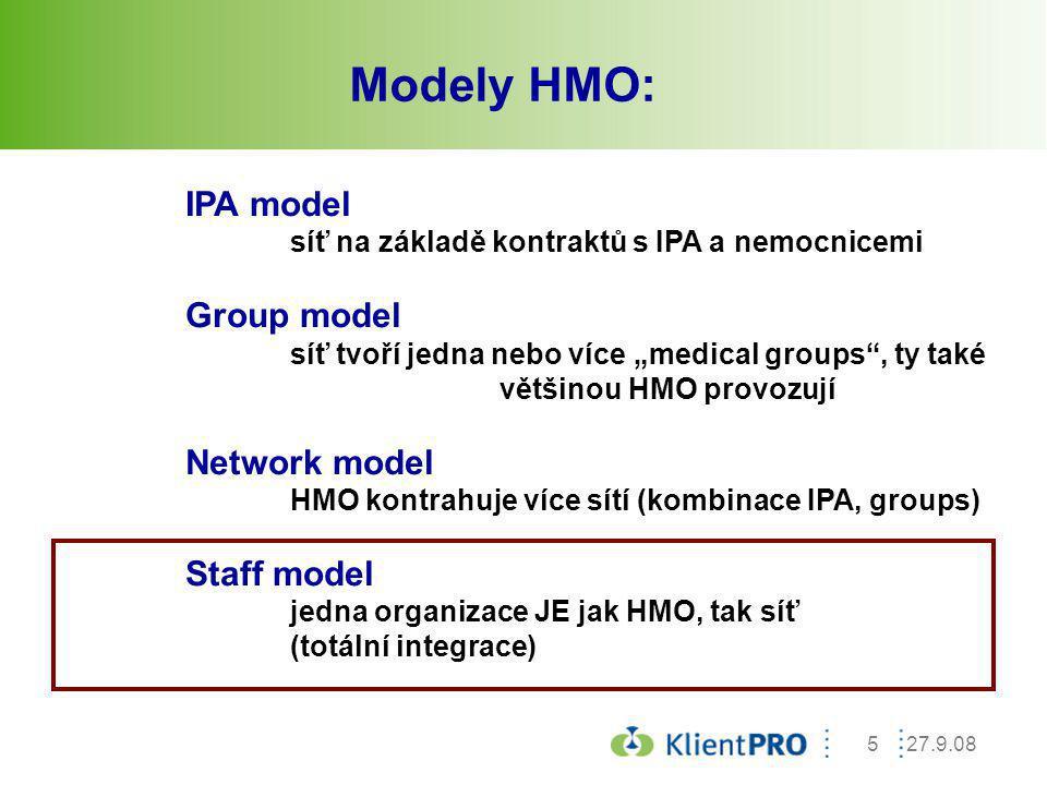 """27.9.085 Modely HMO: IPA model síť na základě kontraktů s IPA a nemocnicemi Group model síť tvoří jedna nebo více """"medical groups"""", ty také většinou H"""