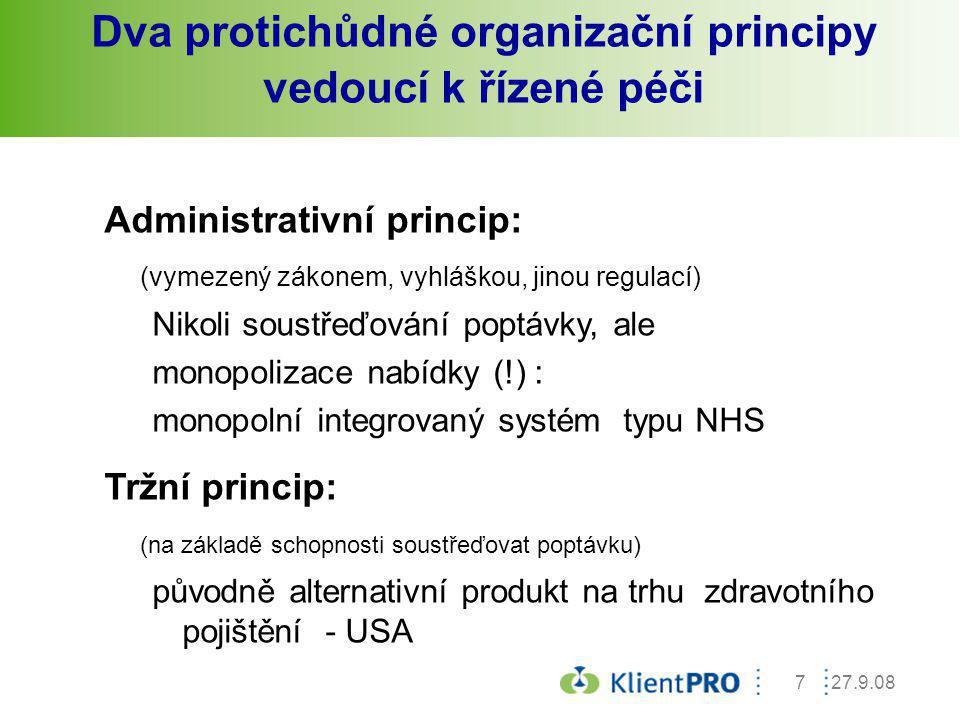 27.9.087 Dva protichůdné organizační principy vedoucí k řízené péči Administrativní princip: (vymezený zákonem, vyhláškou, jinou regulací) Nikoli sous