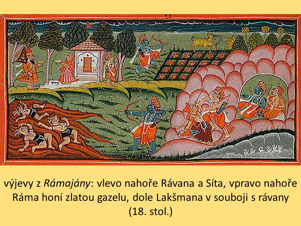 výjevy z Rámajány: vlevo nahoře Rávana a Síta, vpravo nahoře Ráma honí zlatou gazelu, dole Lakšmana v souboji s rávany (18. stol.)