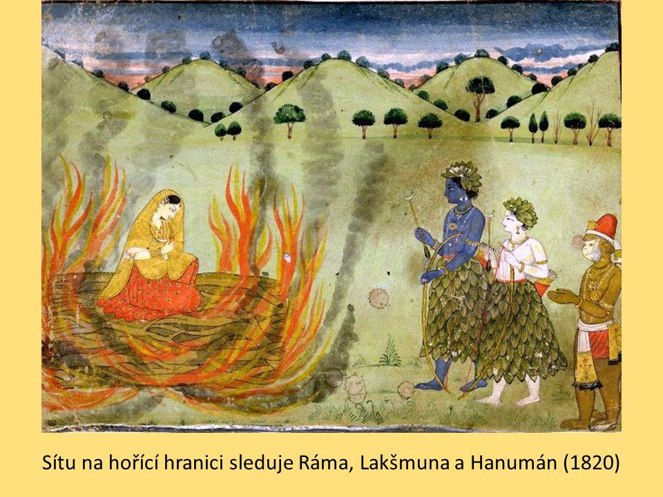 Sítu na hořící hranici sleduje Ráma, Lakšmuna a Hanumán (1820)