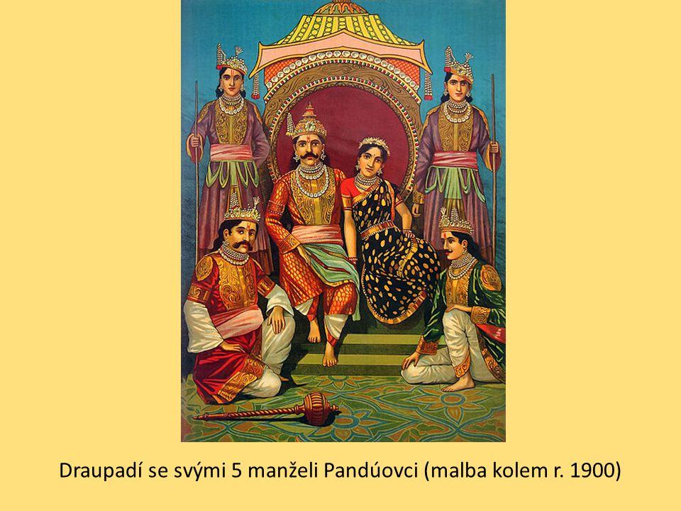 Draupadí se svými 5 manželi Pandúovci (malba kolem r. 1900)