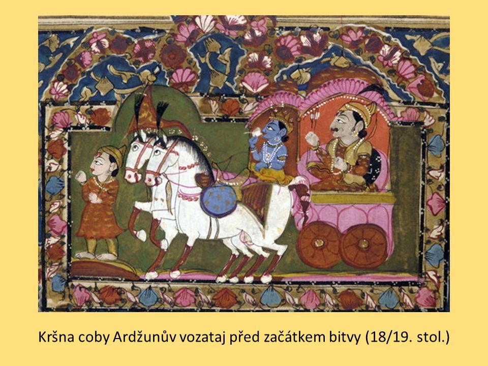 Kršna coby Ardžunův vozataj před začátkem bitvy (18/19. stol.)