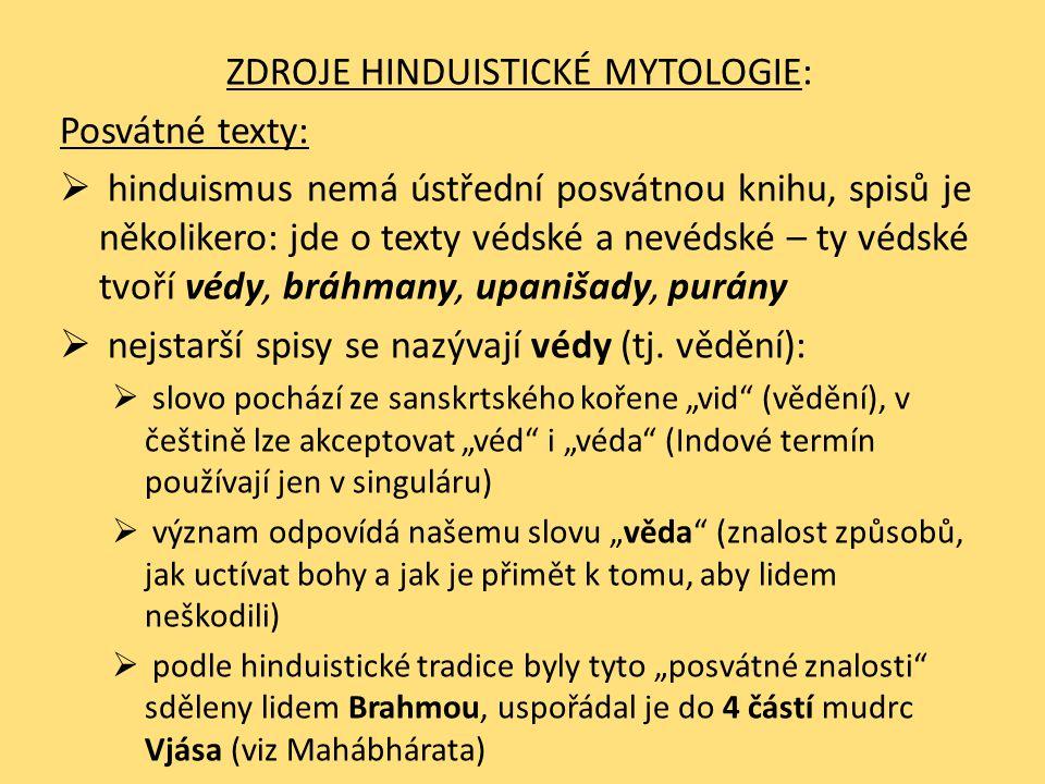 ZDROJE HINDUISTICKÉ MYTOLOGIE: Posvátné texty:  hinduismus nemá ústřední posvátnou knihu, spisů je několikero: jde o texty védské a nevédské – ty véd