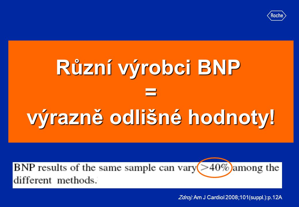 Různí výrobci BNP = výrazně odlišné hodnoty! Zdroj: Am J Cardiol 2008;101(suppl.):p.12A