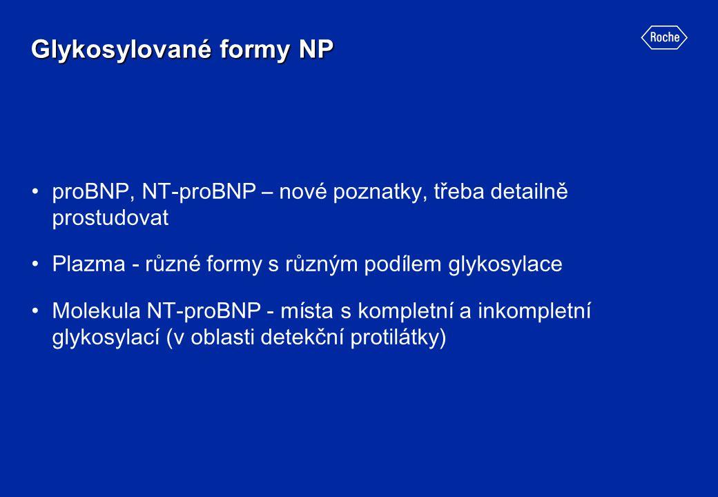 Glykosylované formy NP proBNP, NT-proBNP – nové poznatky, třeba detailně prostudovat Plazma - různé formy s různým podílem glykosylace Molekula NT-pro