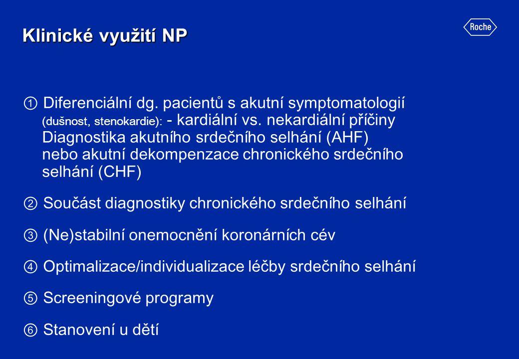 ① Diferenciální dg. pacientů s akutní symptomatologií (dušnost, stenokardie): - kardiální vs. nekardiální příčiny Diagnostika akutního srdečního selhá