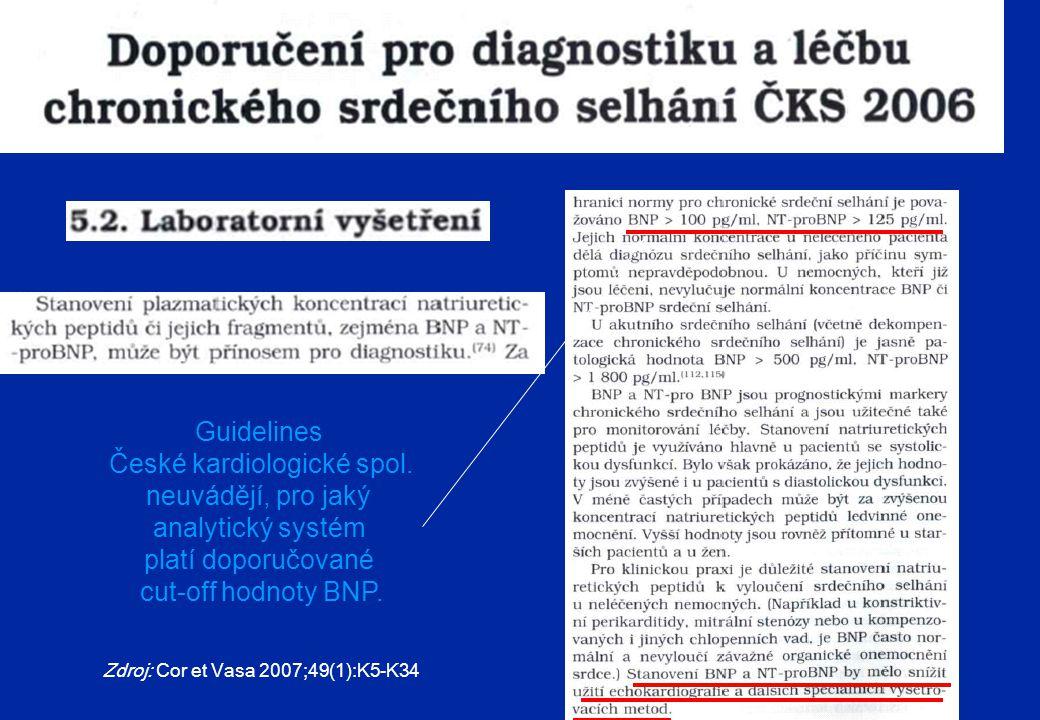 Zdroj: Cor et Vasa 2007;49(1):K5-K34 Guidelines České kardiologické spol. neuvádějí, pro jaký analytický systém platí doporučované cut-off hodnoty BNP