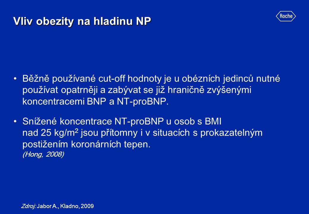 Vliv obezity na hladinu NP Běžně používané cut-off hodnoty je u obézních jedinců nutné používat opatrněji a zabývat se již hraničně zvýšenými koncentr
