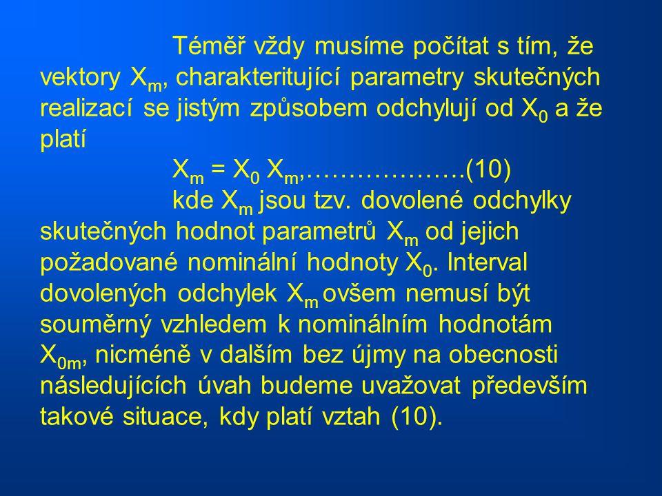 Téměř vždy musíme počítat s tím, že vektory X m, charakteritující parametry skutečných realizací se jistým způsobem odchylují od X 0 a že platí X m =