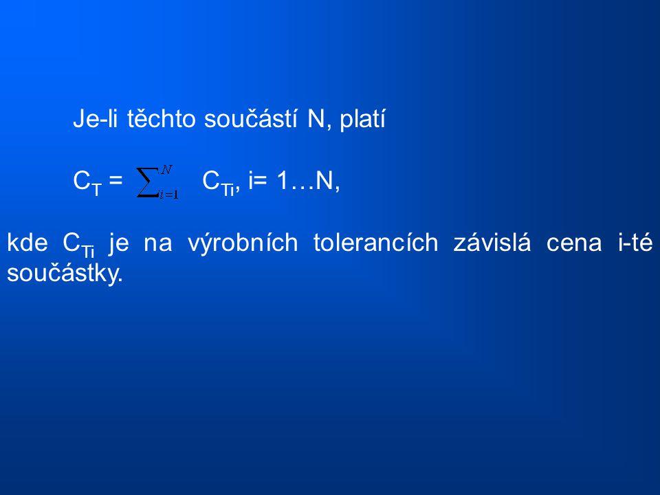 Je-li těchto součástí N, platí C T = C Ti, i= 1…N, kde C Ti je na výrobních tolerancích závislá cena i-té součástky.