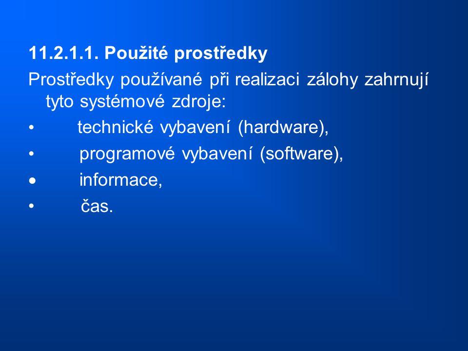 11.2.1.1. Použité prostředky Prostředky používané při realizaci zálohy zahrnují tyto systémové zdroje: technické vybavení (hardware), programové vybav