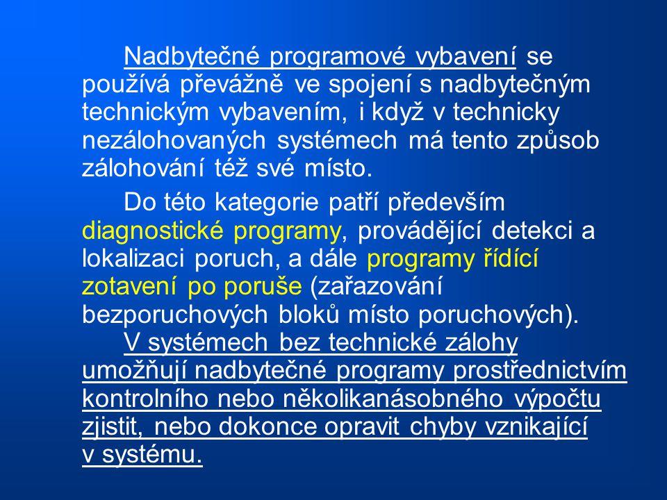 Nadbytečné programové vybavení se používá převážně ve spojení s nadbytečným technickým vybavením, i když v technicky nezálohovaných systémech má tento