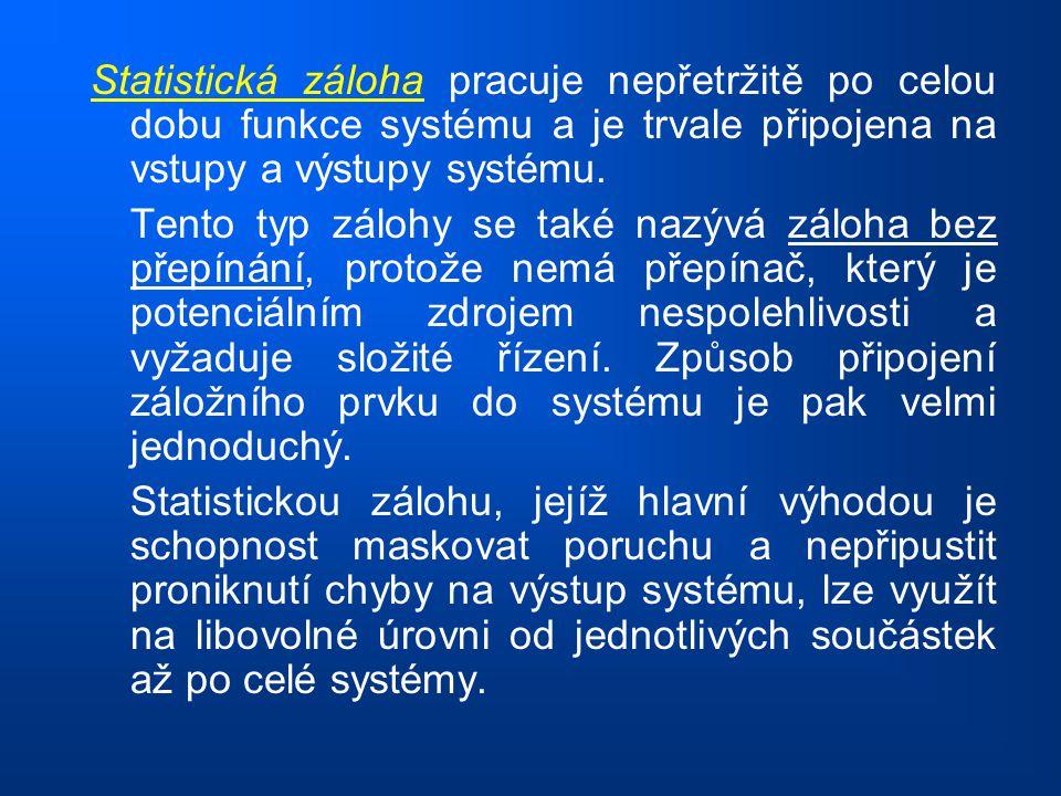 Statistická záloha pracuje nepřetržitě po celou dobu funkce systému a je trvale připojena na vstupy a výstupy systému. Tento typ zálohy se také nazývá