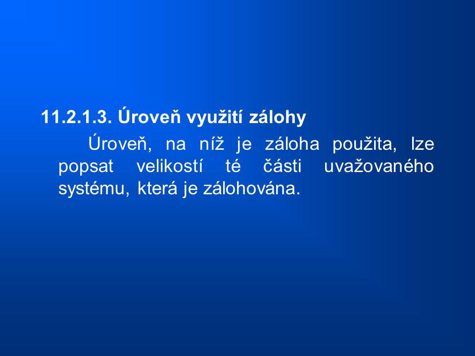 11.2.1.3. Úroveň využití zálohy Úroveň, na níž je záloha použita, lze popsat velikostí té části uvažovaného systému, která je zálohována.
