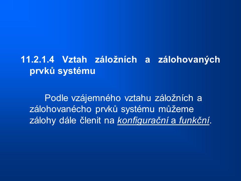 11.2.1.4 Vztah záložních a zálohovaných prvků systému Podle vzájemného vztahu záložních a zálohovanécho prvků systému můžeme zálohy dále členit na kon
