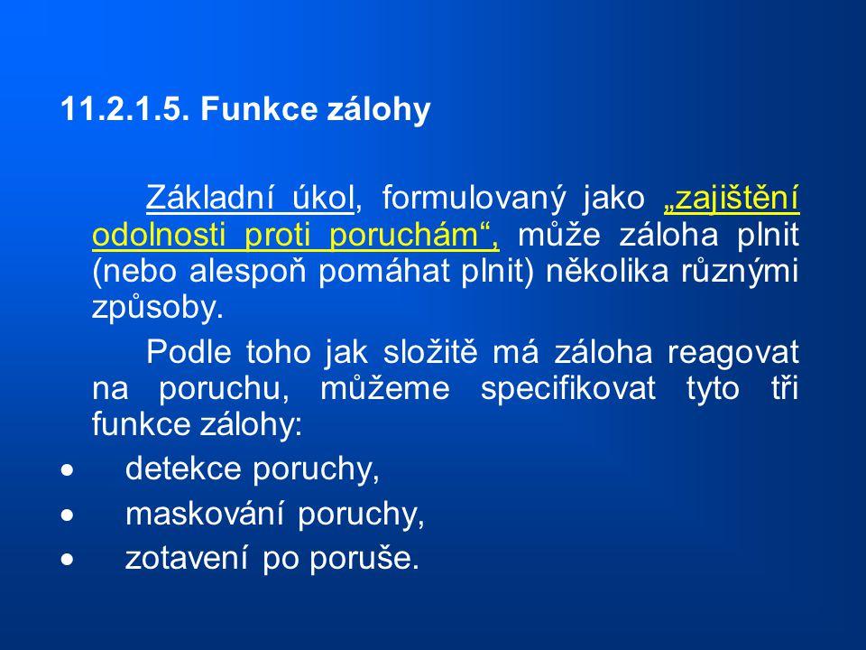 """11.2.1.5. Funkce zálohy Základní úkol, formulovaný jako """"zajištění odolnosti proti poruchám"""", může záloha plnit (nebo alespoň pomáhat plnit) několika"""