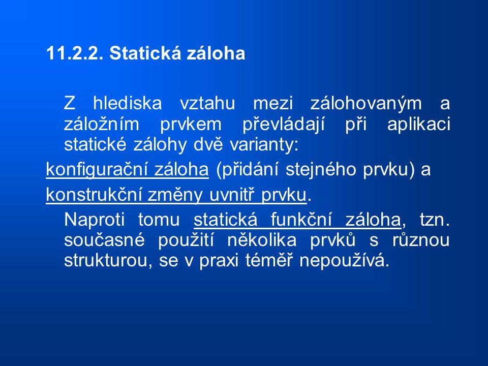 11.2.2. Statická záloha Z hlediska vztahu mezi zálohovaným a záložním prvkem převládají při aplikaci statické zálohy dvě varianty: konfigurační záloha