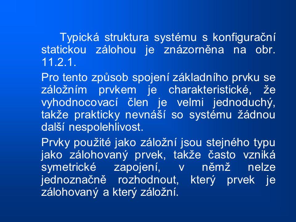 Typická struktura systému s konfigurační statickou zálohou je znázorněna na obr. 11.2.1. Pro tento způsob spojení základního prvku se záložním prvkem