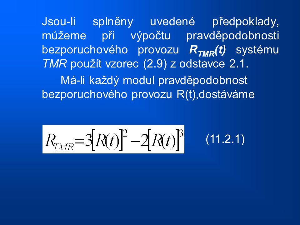 Jsou-li splněny uvedené předpoklady, můžeme při výpočtu pravděpodobnosti bezporuchového provozu R TMR (t) systému TMR použít vzorec (2.9) z odstavce 2