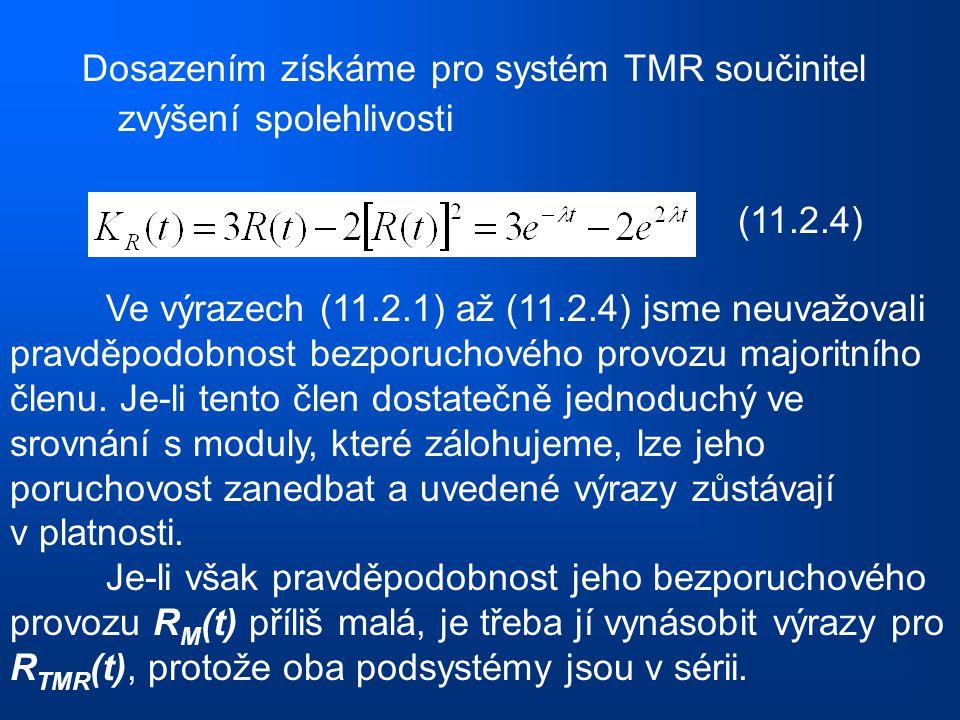 Dosazením získáme pro systém TMR součinitel zvýšení spolehlivosti (11.2.4) Ve výrazech (11.2.1) až (11.2.4) jsme neuvažovali pravděpodobnost bezporuch