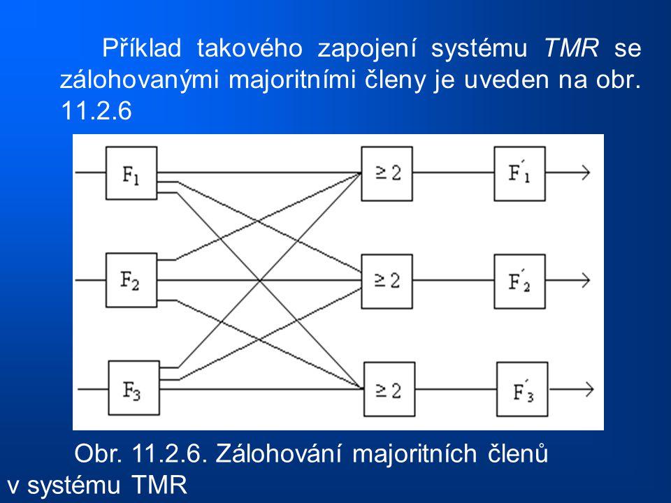 Příklad takového zapojení systému TMR se zálohovanými majoritními členy je uveden na obr. 11.2.6 Obr. 11.2.6. Zálohování majoritních členů v systému T