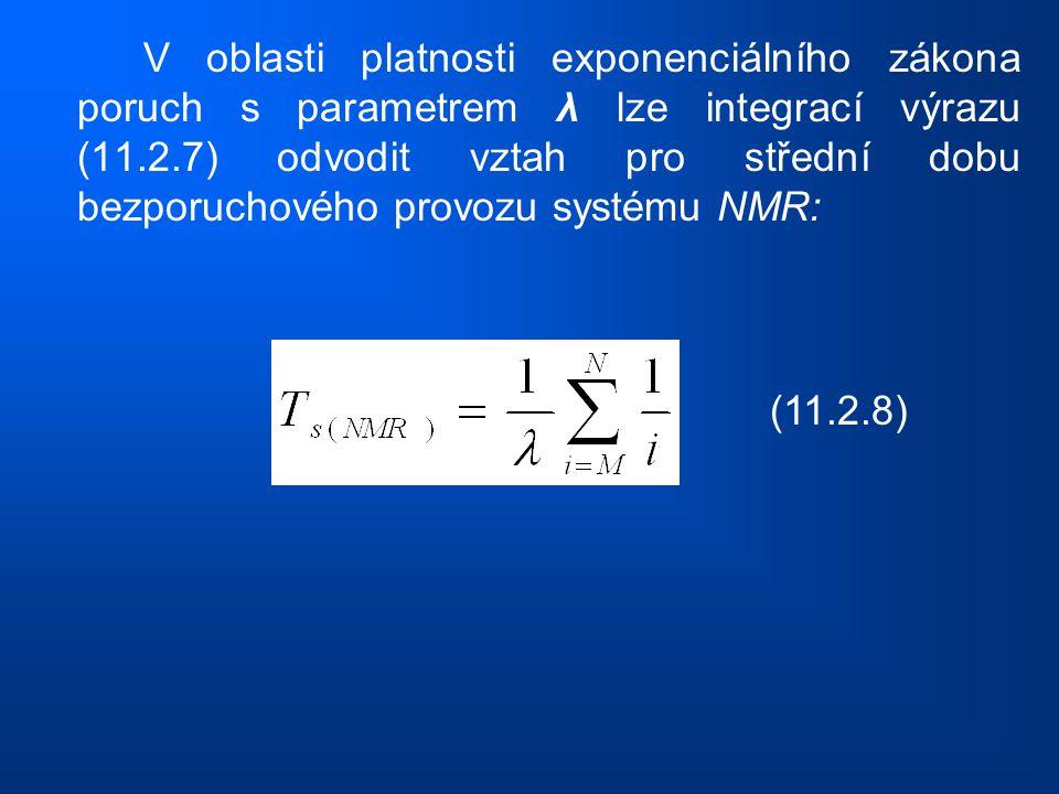 V oblasti platnosti exponenciálního zákona poruch s parametrem λ lze integrací výrazu (11.2.7) odvodit vztah pro střední dobu bezporuchového provozu s