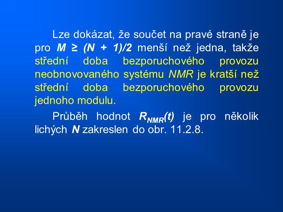 Lze dokázat, že součet na pravé straně je pro M ≥ (N + 1)/2 menší než jedna, takže střední doba bezporuchového provozu neobnovovaného systému NMR je k
