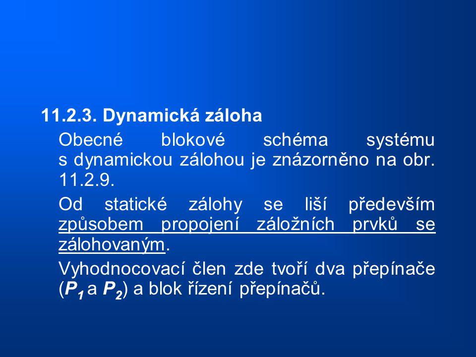 11.2.3. Dynamická záloha Obecné blokové schéma systému s dynamickou zálohou je znázorněno na obr. 11.2.9. Od statické zálohy se liší především způsobe