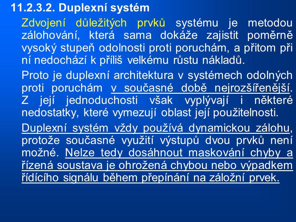 11.2.3.2. Duplexní systém Zdvojení důležitých prvků systému je metodou zálohování, která sama dokáže zajistit poměrně vysoký stupeň odolnosti proti po