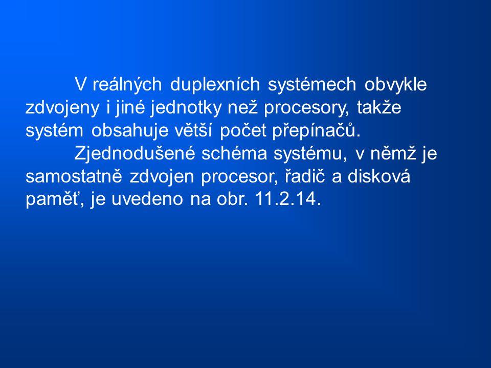 V reálných duplexních systémech obvykle zdvojeny i jiné jednotky než procesory, takže systém obsahuje větší počet přepínačů. Zjednodušené schéma systé