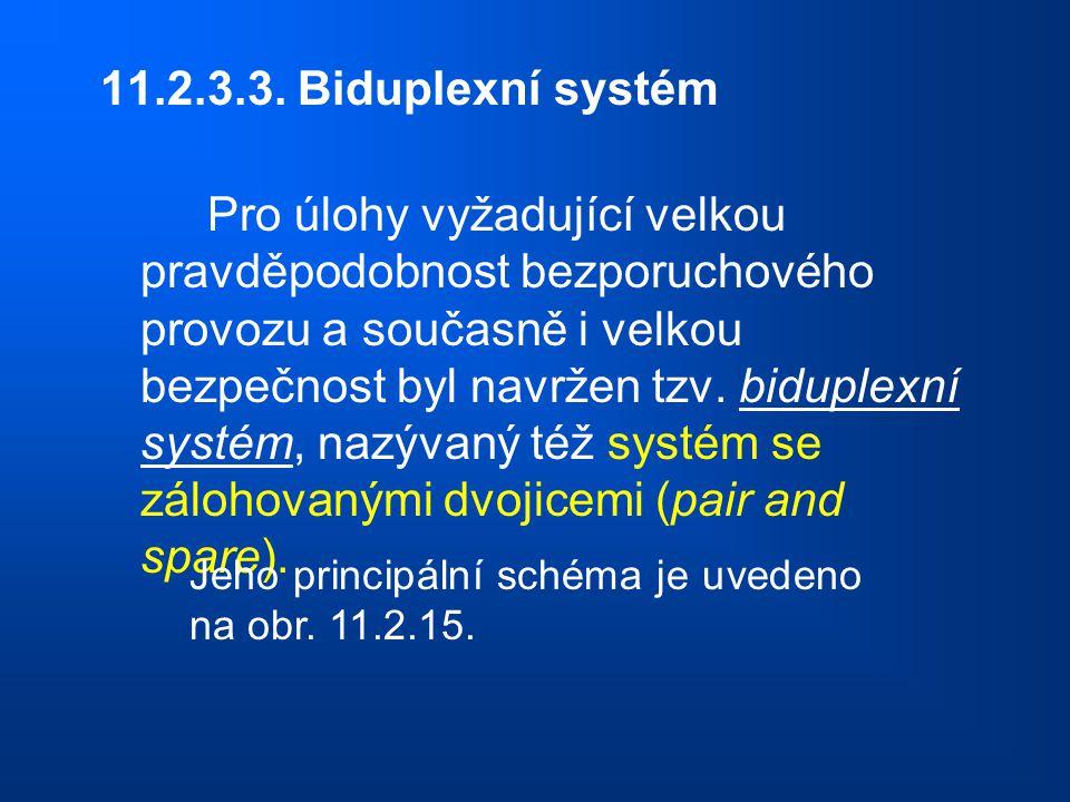 11.2.3.3. Biduplexní systém Pro úlohy vyžadující velkou pravděpodobnost bezporuchového provozu a současně i velkou bezpečnost byl navržen tzv. biduple