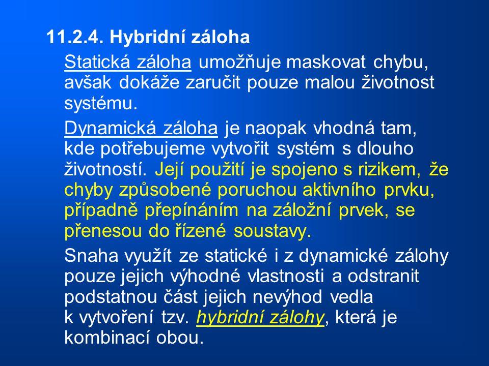 11.2.4. Hybridní záloha Statická záloha umožňuje maskovat chybu, avšak dokáže zaručit pouze malou životnost systému. Dynamická záloha je naopak vhodná
