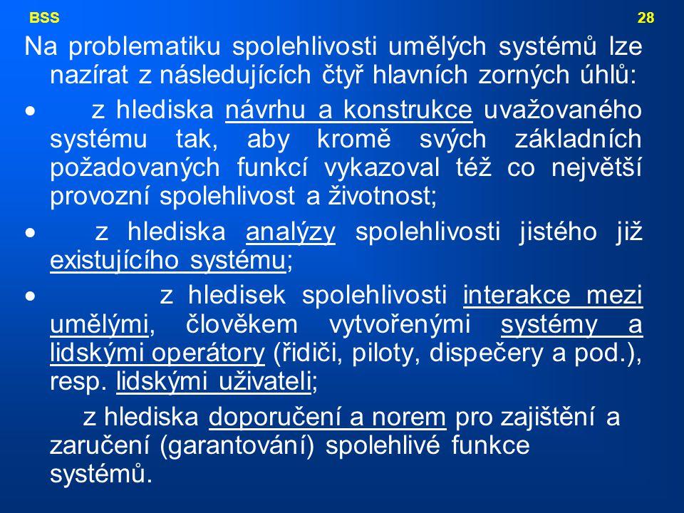BSS 28 Na problematiku spolehlivosti umělých systémů lze nazírat z následujících čtyř hlavních zorných úhlů:  z hlediska návrhu a konstrukce uvažovan