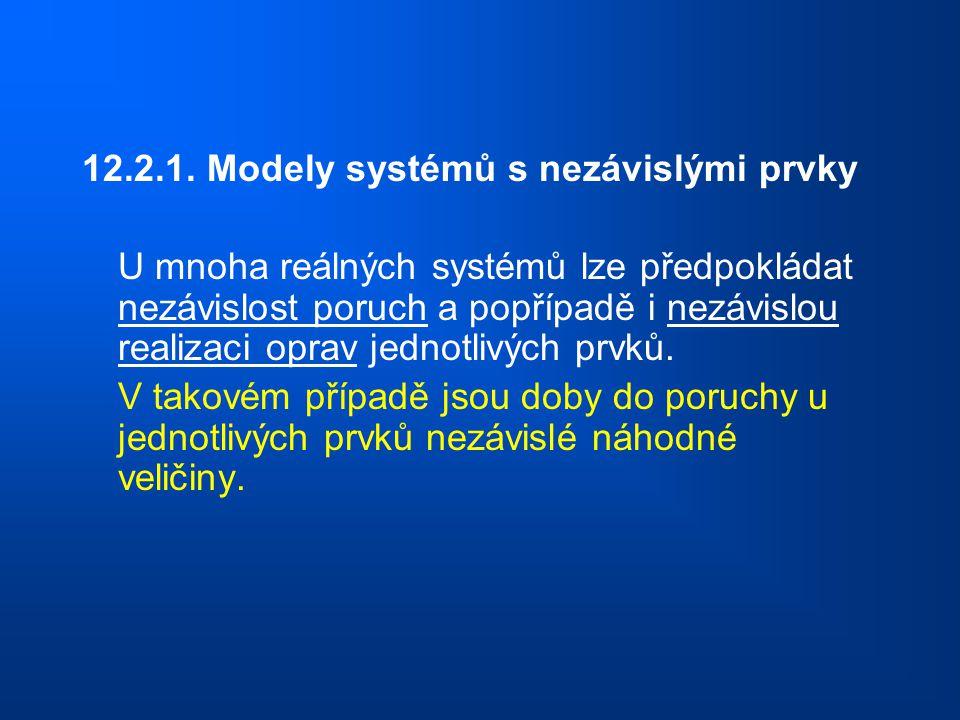 12.2.1. Modely systémů s nezávislými prvky U mnoha reálných systémů lze předpokládat nezávislost poruch a popřípadě i nezávislou realizaci oprav jedno