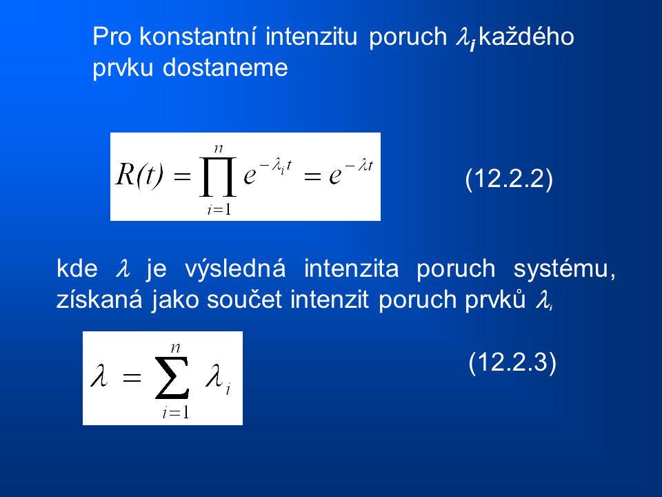 Pro konstantní intenzitu poruch i každého prvku dostaneme (12.2.2) kde je výsledná intenzita poruch systému, získaná jako součet intenzit poruch prvků