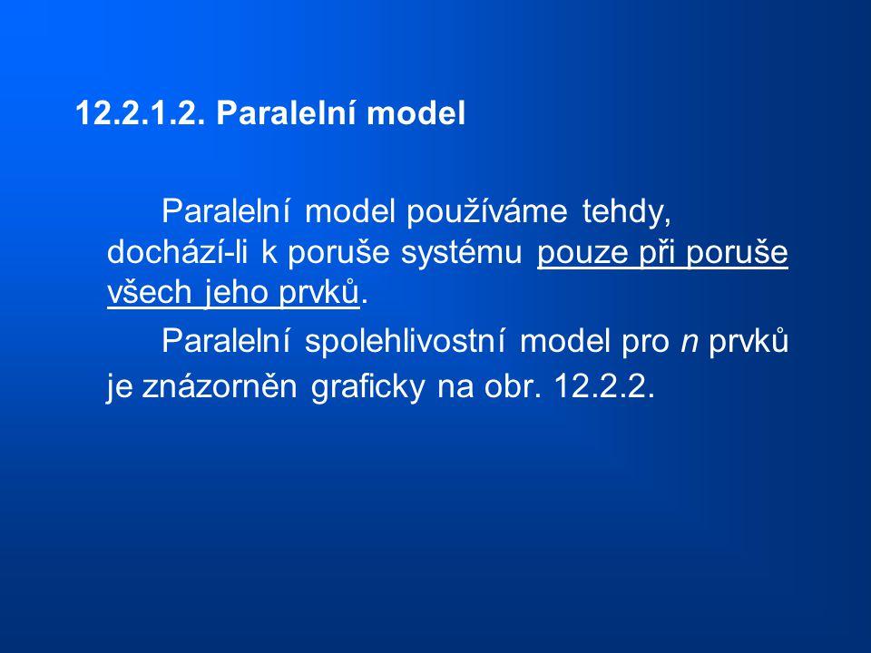12.2.1.2. Paralelní model Paralelní model používáme tehdy, dochází-li k poruše systému pouze při poruše všech jeho prvků. Paralelní spolehlivostní mod