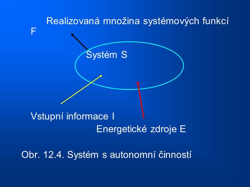 Realizovaná množina systémových funkcí F Systém S Vstupní informace I Energetické zdroje E Obr. 12.4. Systém s autonomní činností