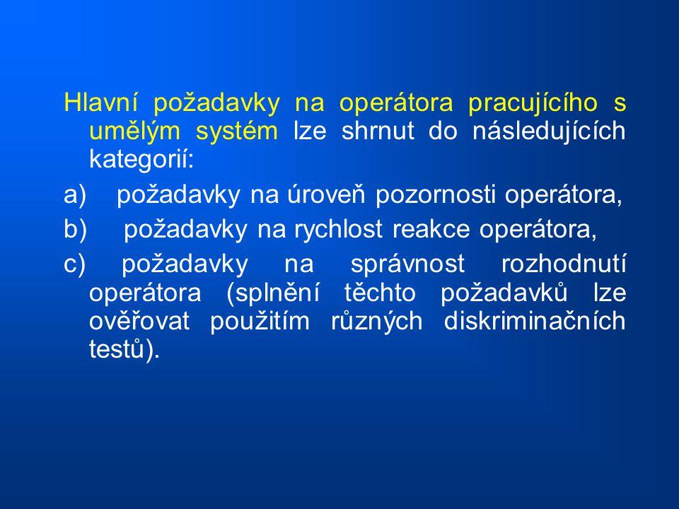 Hlavní požadavky na operátora pracujícího s umělým systém lze shrnut do následujících kategorií: a) požadavky na úroveň pozornosti operátora, b) požad