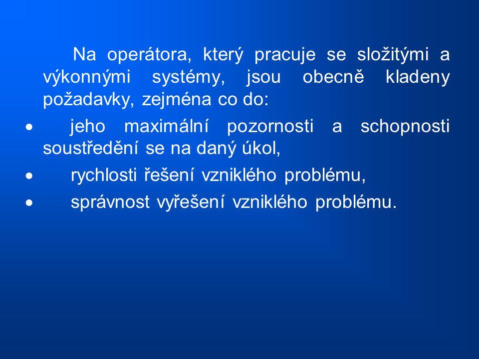 Na operátora, který pracuje se složitými a výkonnými systémy, jsou obecně kladeny požadavky, zejména co do:  jeho maximální pozornosti a schopnosti s