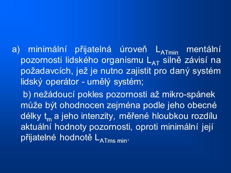 a) minimální přijatelná úroveň L ATmin mentální pozornosti lidského organismu L AT silně závisí na požadavcích, jež je nutno zajistit pro daný systém
