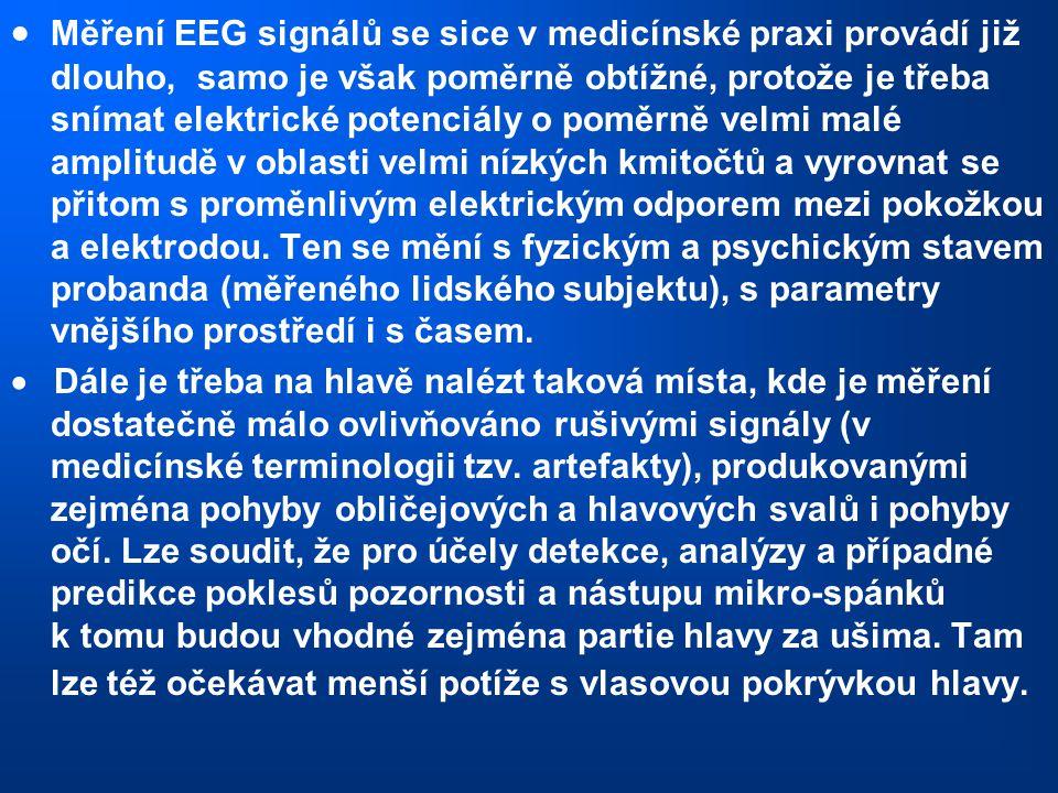  Měření EEG signálů se sice v medicínské praxi provádí již dlouho, samo je však poměrně obtížné, protože je třeba snímat elektrické potenciály o pomě