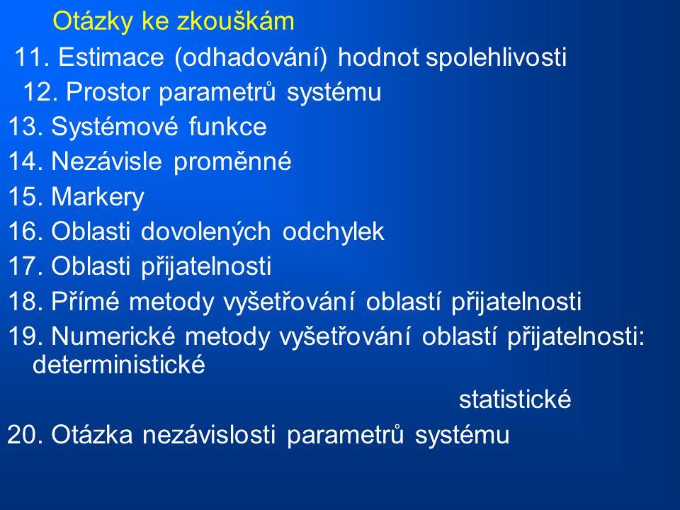Otázky ke zkouškám 11.Estimace (odhadování) hodnot spolehlivosti 12.