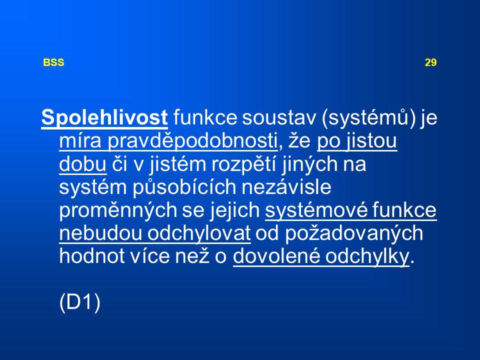 BSS 29 Spolehlivost funkce soustav (systémů) je míra pravděpodobnosti, že po jistou dobu či v jistém rozpětí jiných na systém působících nezávisle pro