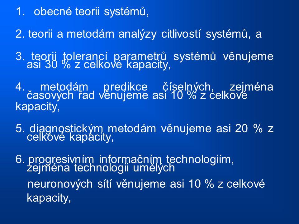 1. obecné teorii systémů, 2. teorii a metodám analýzy citlivostí systémů, a 3. teorii tolerancí parametrů systémů věnujeme asi 30 % z celkové kapacity